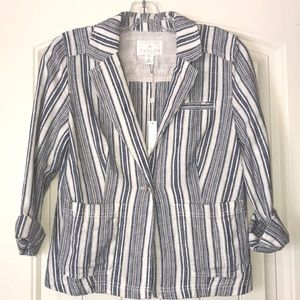 NWT Caslon Linen One-Button Jacket In Small Petite